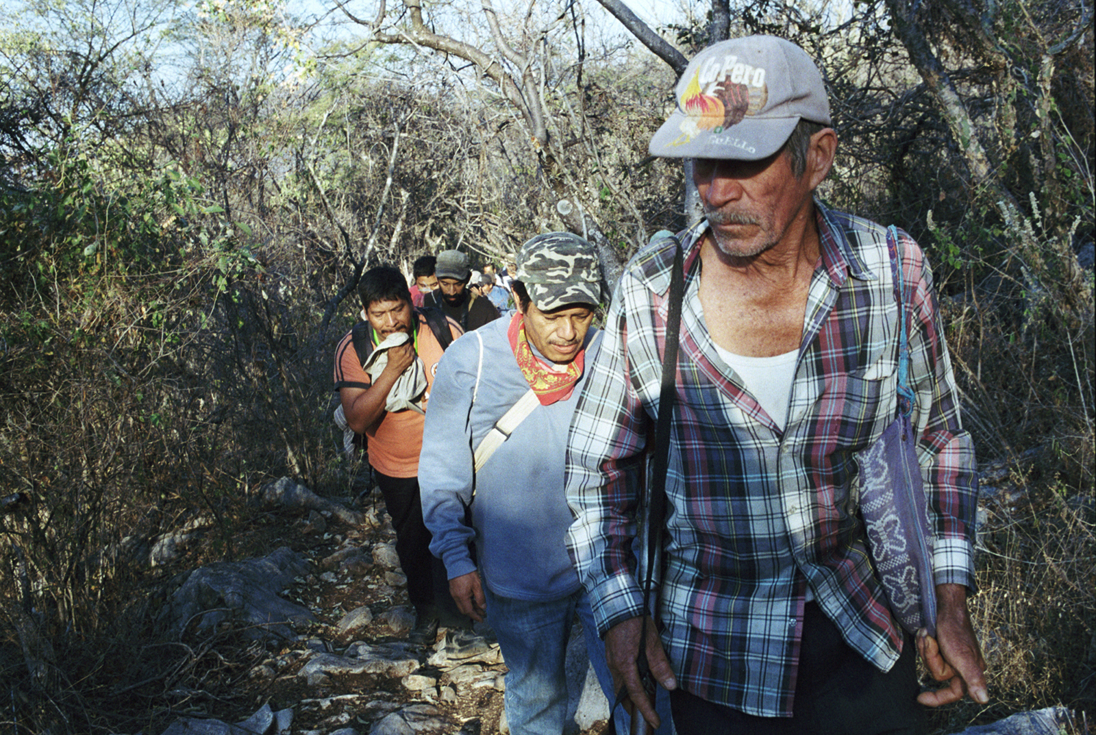 Citizen search brigade for 43 missing students in the hills outside Iguala, the city   where they were kidnapped and disappeared by police. Guerrero, Mexico.      35mm film  8 x 10 inches  $200.00
