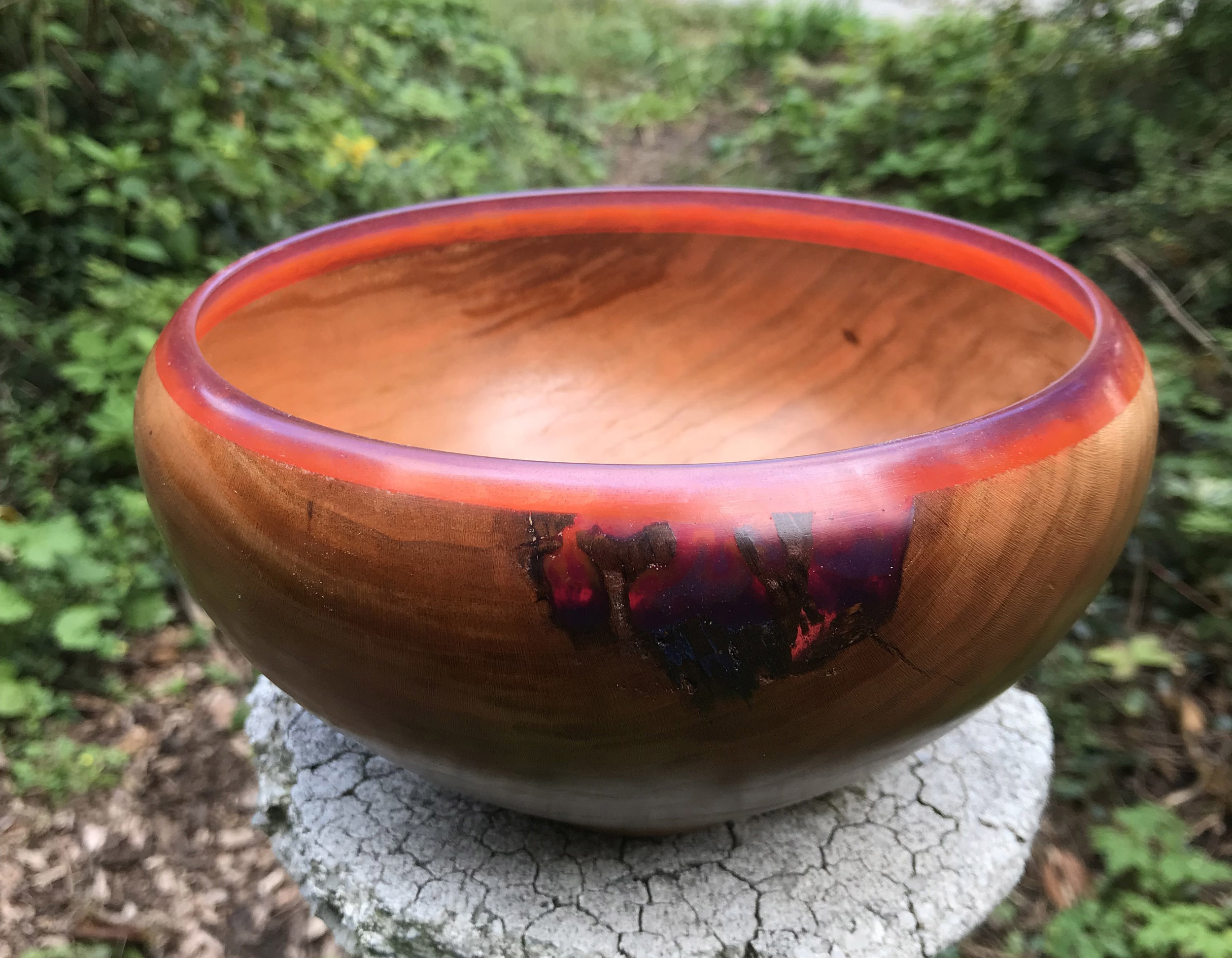 Sr. Gregory Healy Cherry bowl with               colored epoxy.JPG