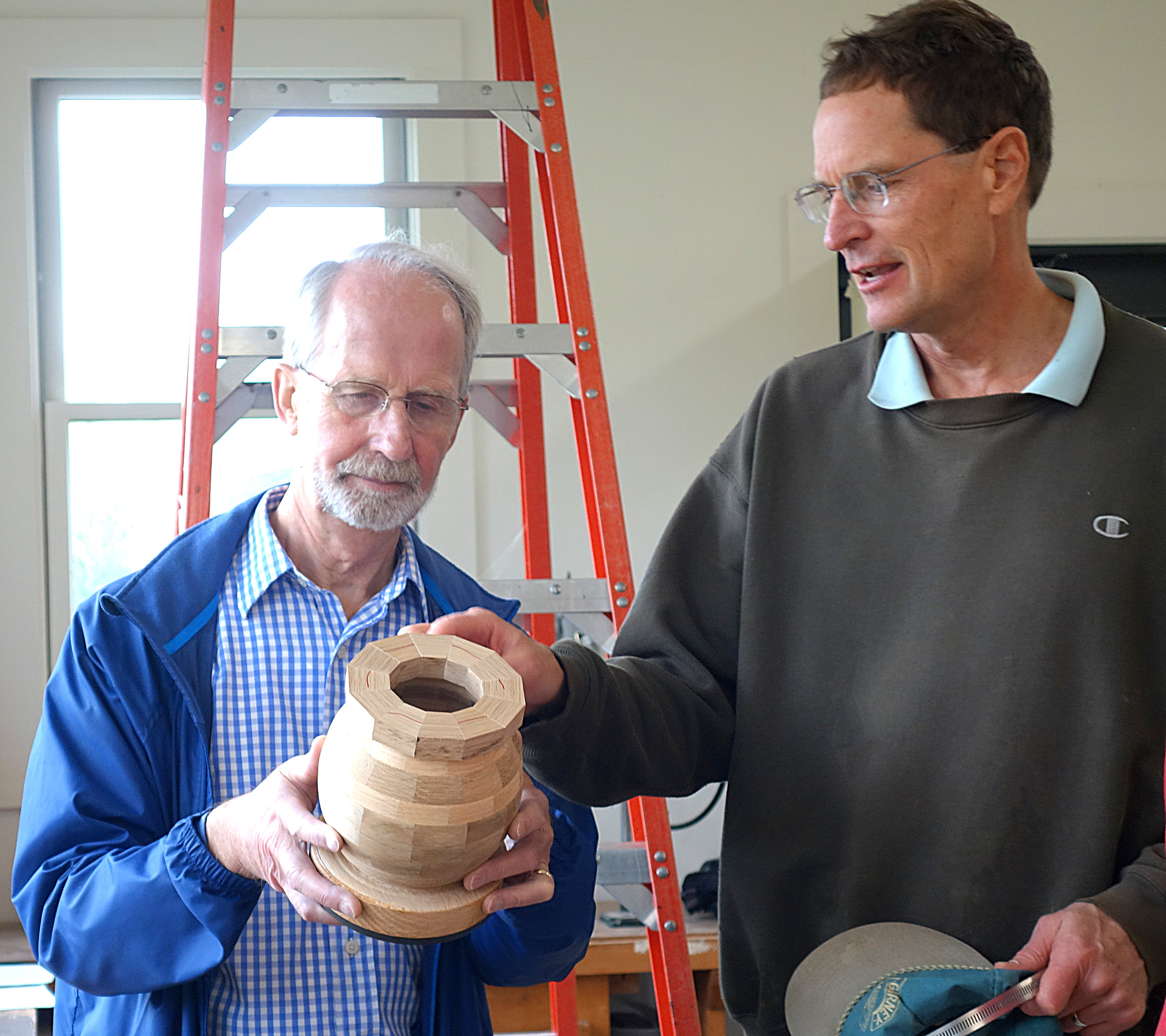 2 brMichael, right, and friend - urn in progress.jpg