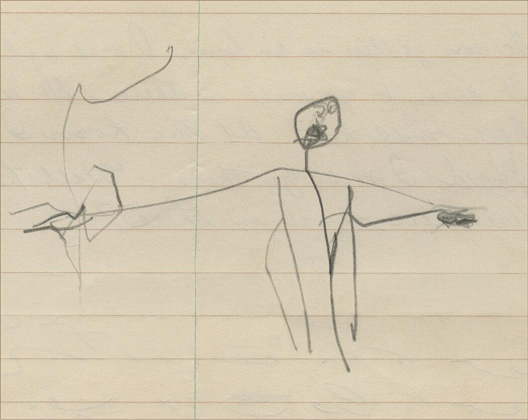 RAnderson_ Earliest known drawing_half figure 1949_channeling a crooning, smoking Frank Sinatra.jpg