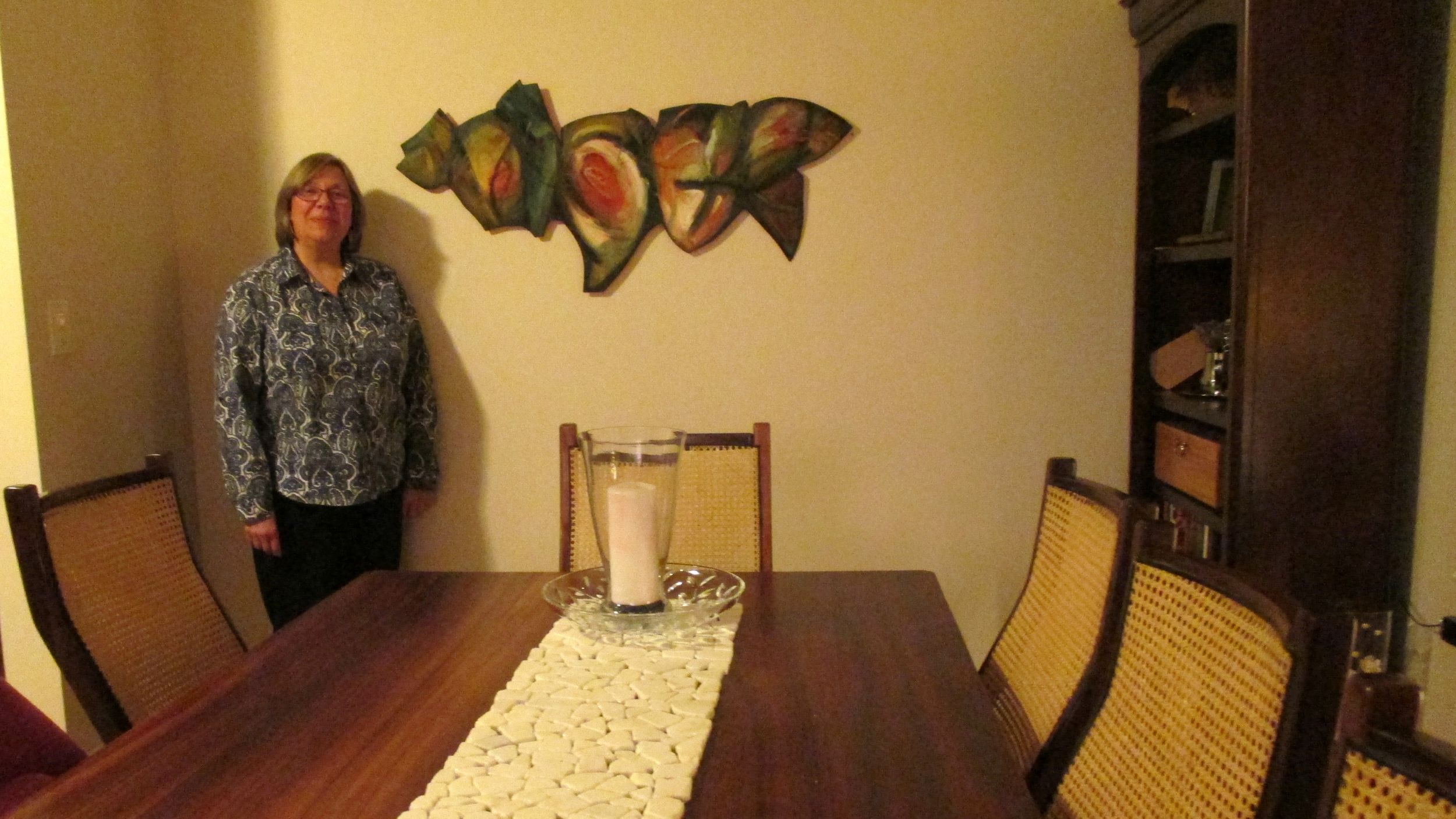 "Kathryn with ""Tabletalk"" installed in her dining room"