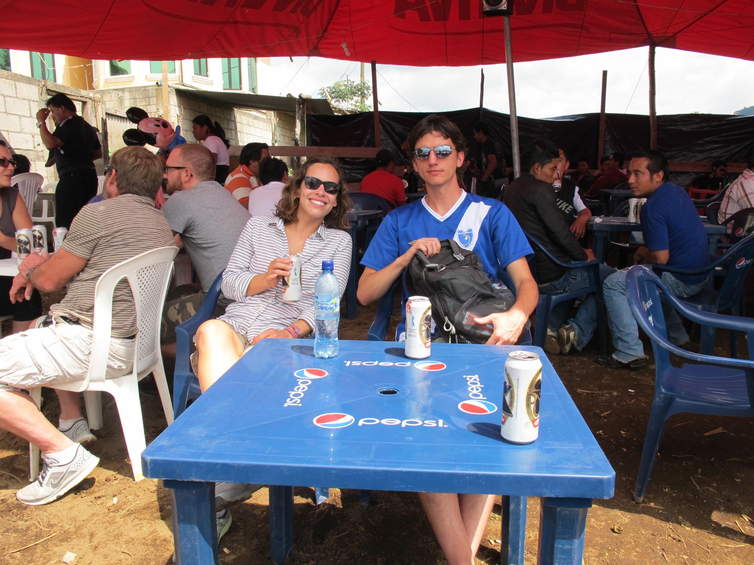 """Enjoying a beer with Matt in the """"beer garden"""""""