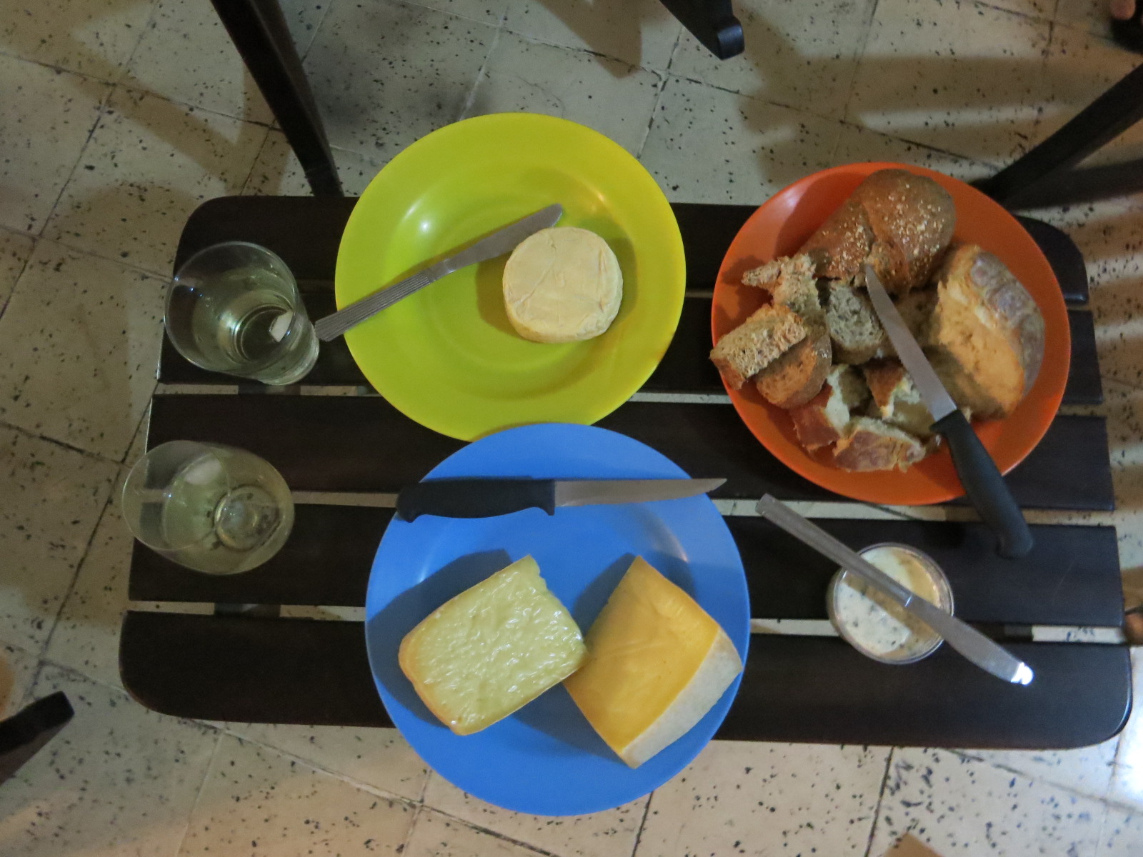 Cheese and bread plates