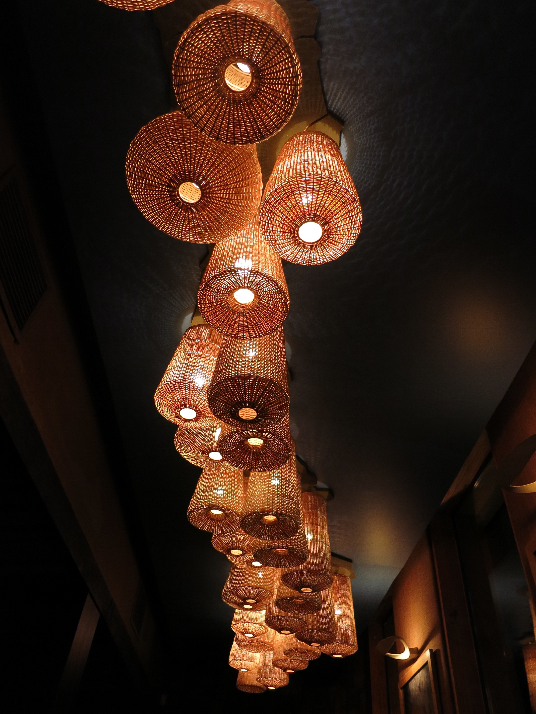 These lamps were mounted to the ceiling in the shape of Chile