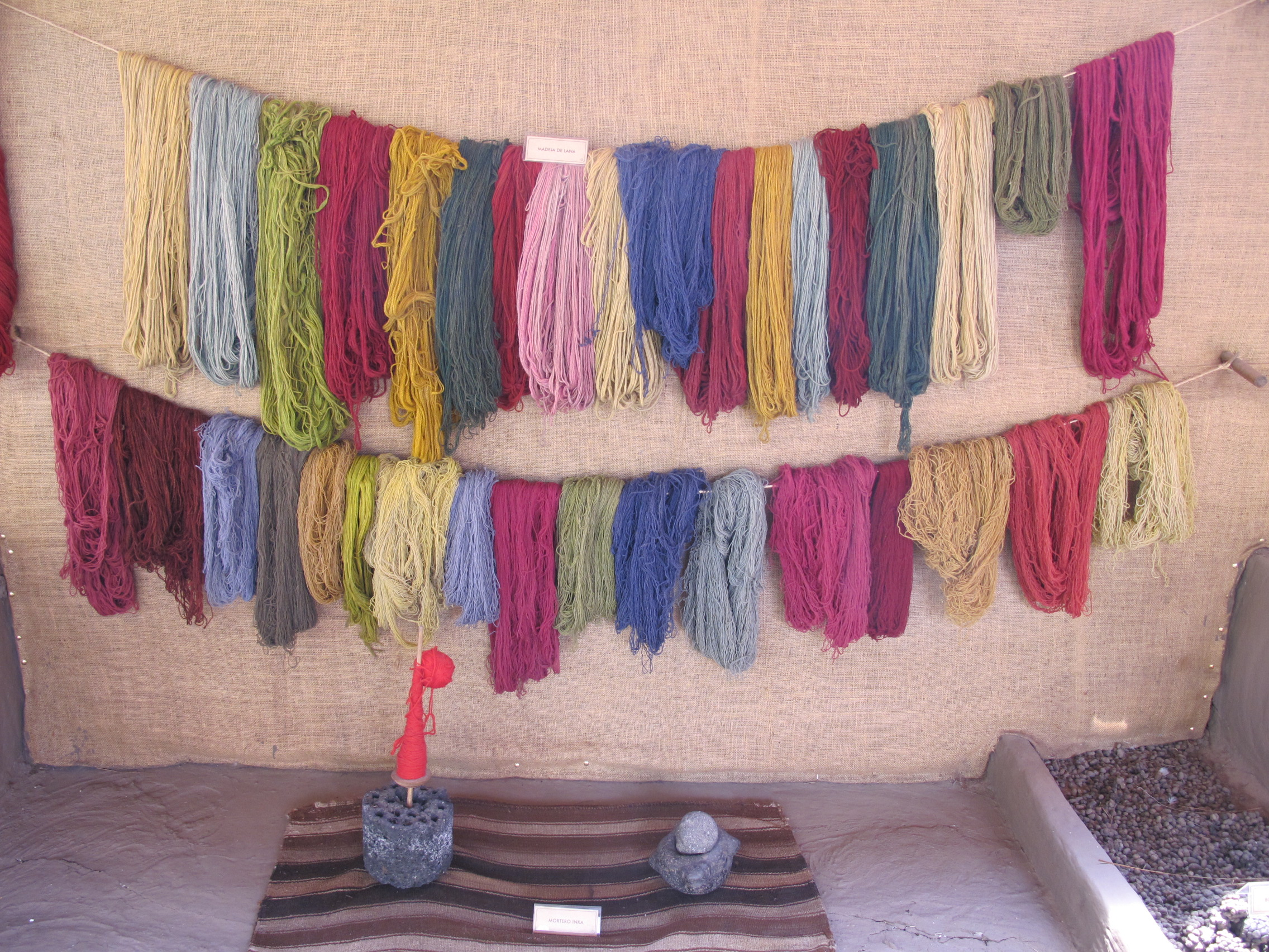 The natural colors used for weaving