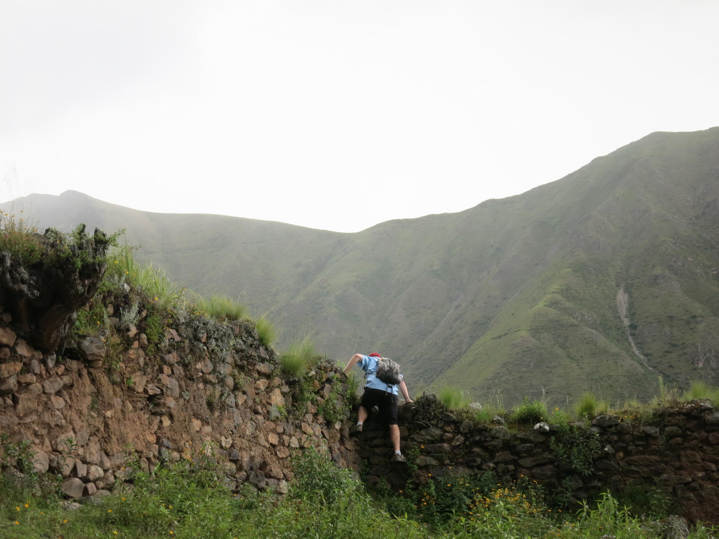 Eric climbing into the Ruins
