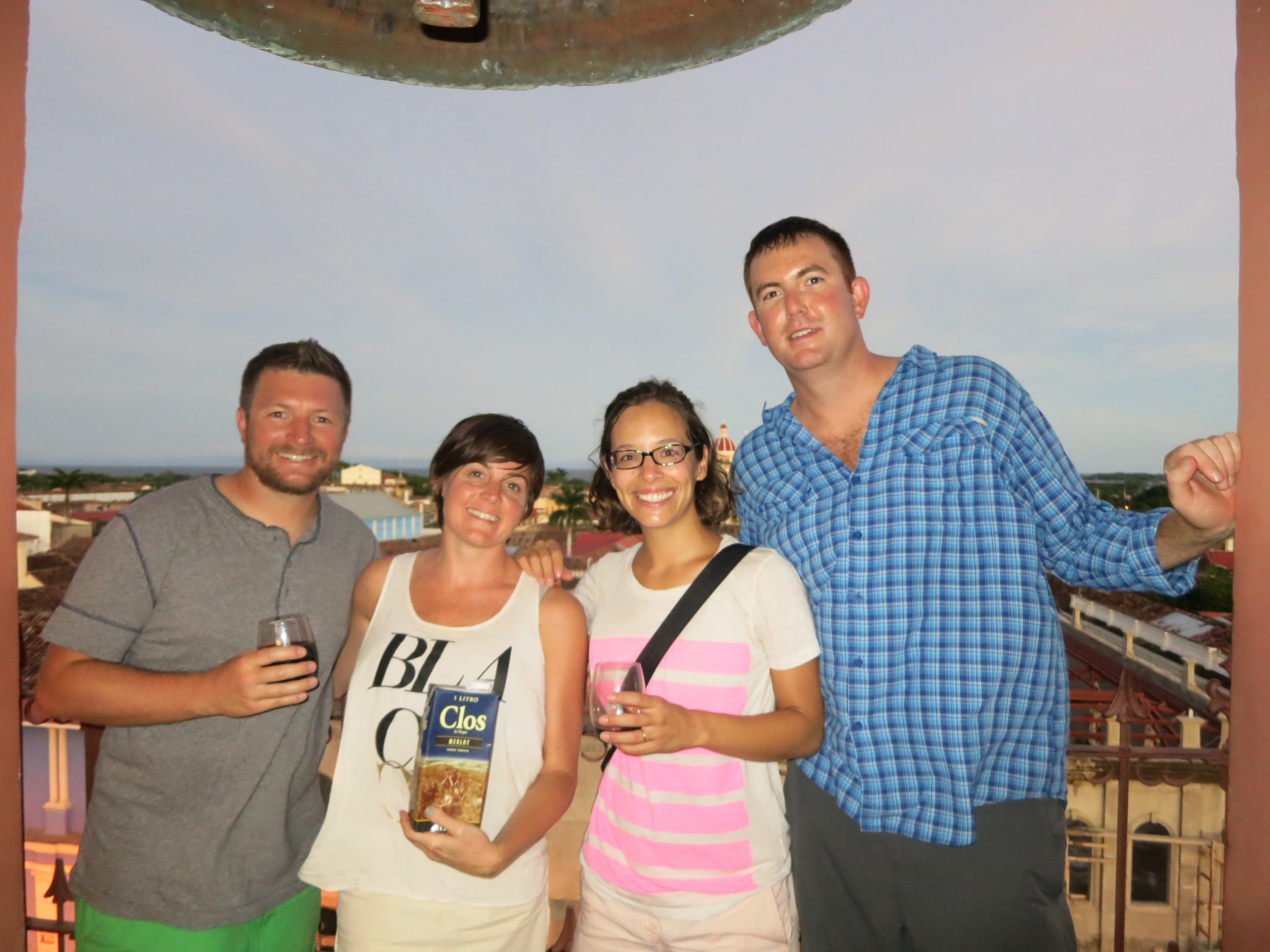 The 4 of us our last night together in Granada, enjoying boxed wine on the church tower overlooking the city.
