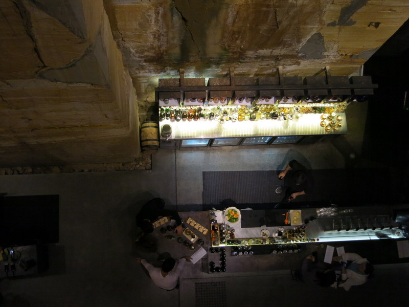 Looking down at the bar