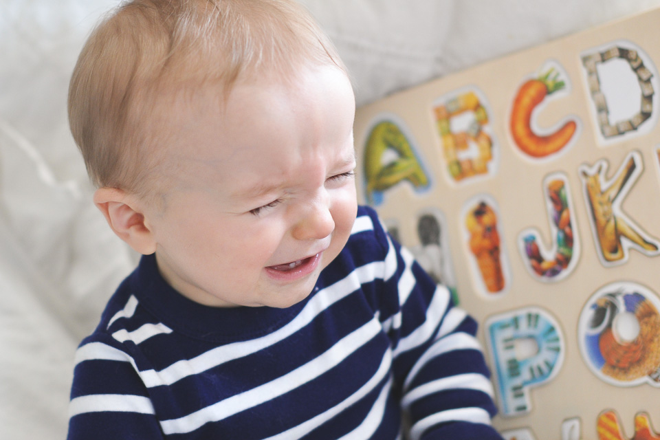 New trick: FAKE CRYING! It's hilarious, and cute, and it doesn't take long before he erupts into grins. :)