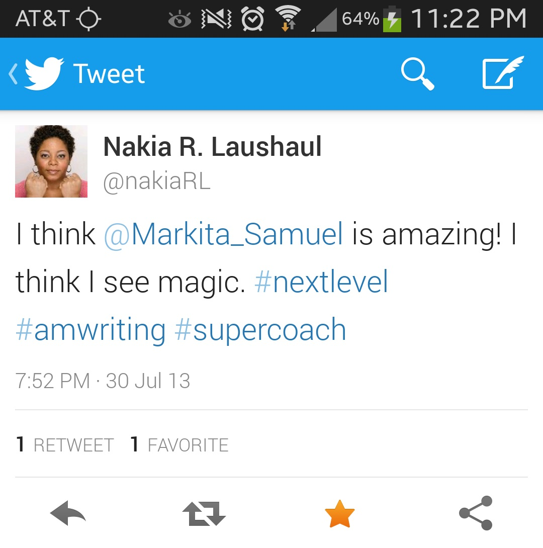Great Shout Out from Nakia R. Laushaul, Award Winning Author