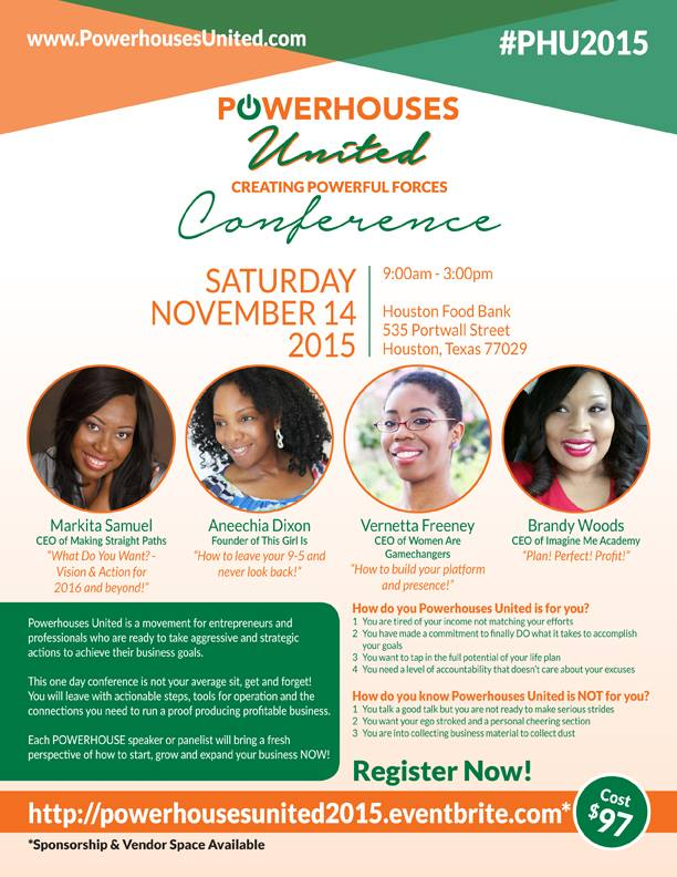 Flyer of Making Straights Paths' Markita Samuel speaking at Powerhouses United Women's Conference.