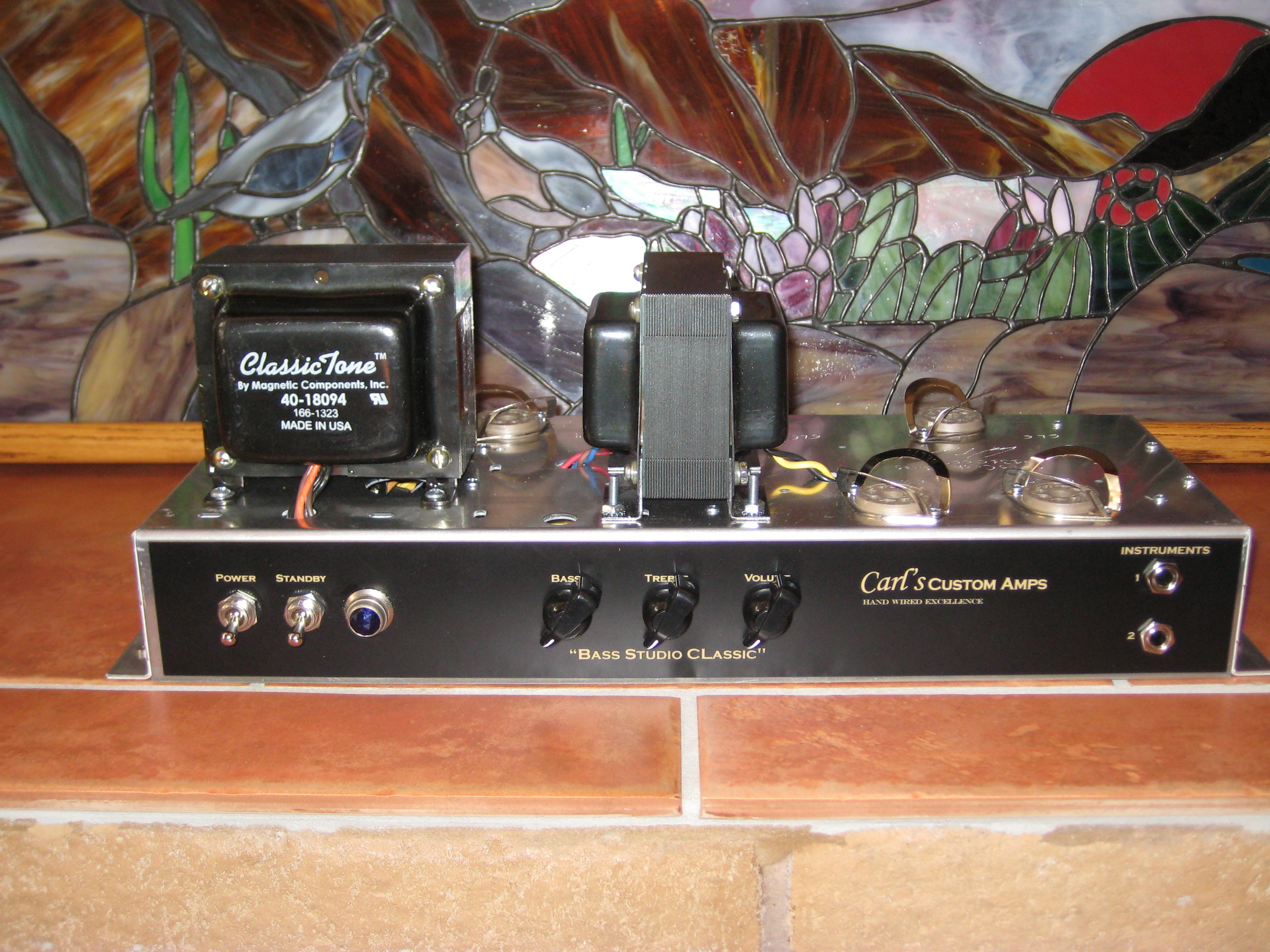 Ampeg B15N single channel style amp. Its the perfect bass recording and small gig amp. I has two 6Sl7s, Two 6l6s and a 5U4 rectifer.