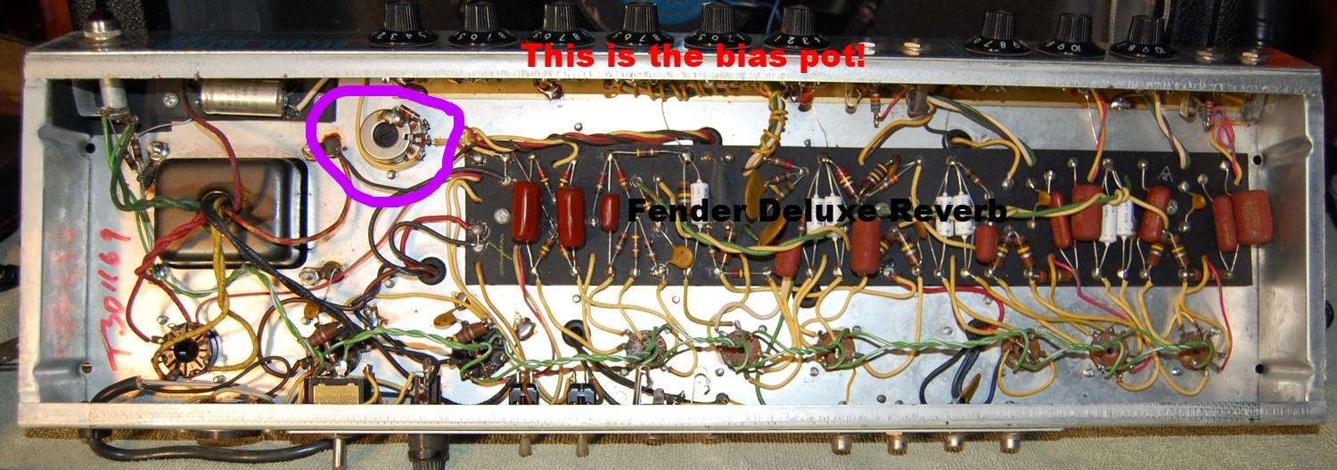A classic Fixed Bias amp: the Fender Deluxe Reverb. Notice the adjustable bias pot. I build these on request!