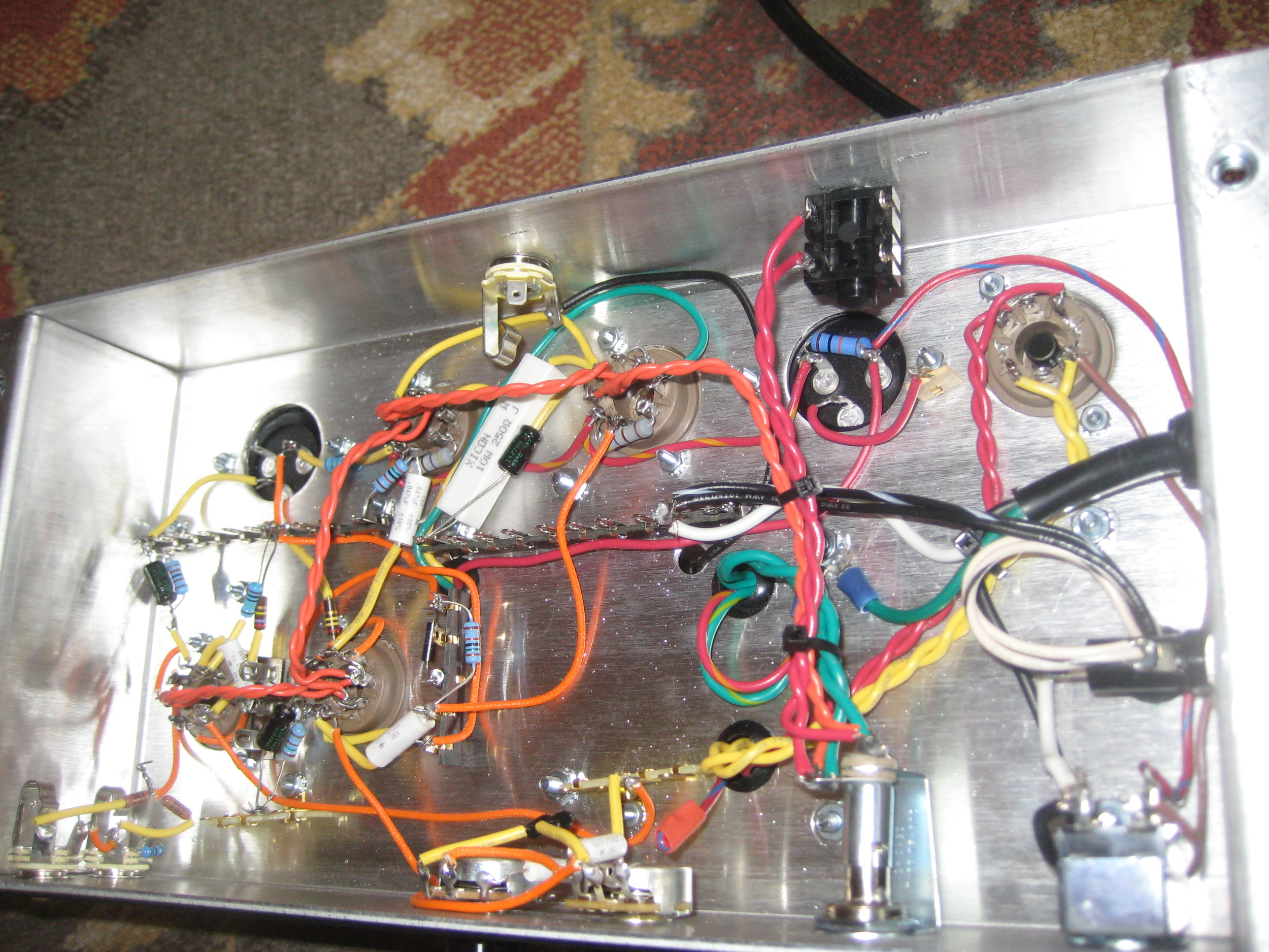 Inside of the Custom Supreme. True point to point wiring.