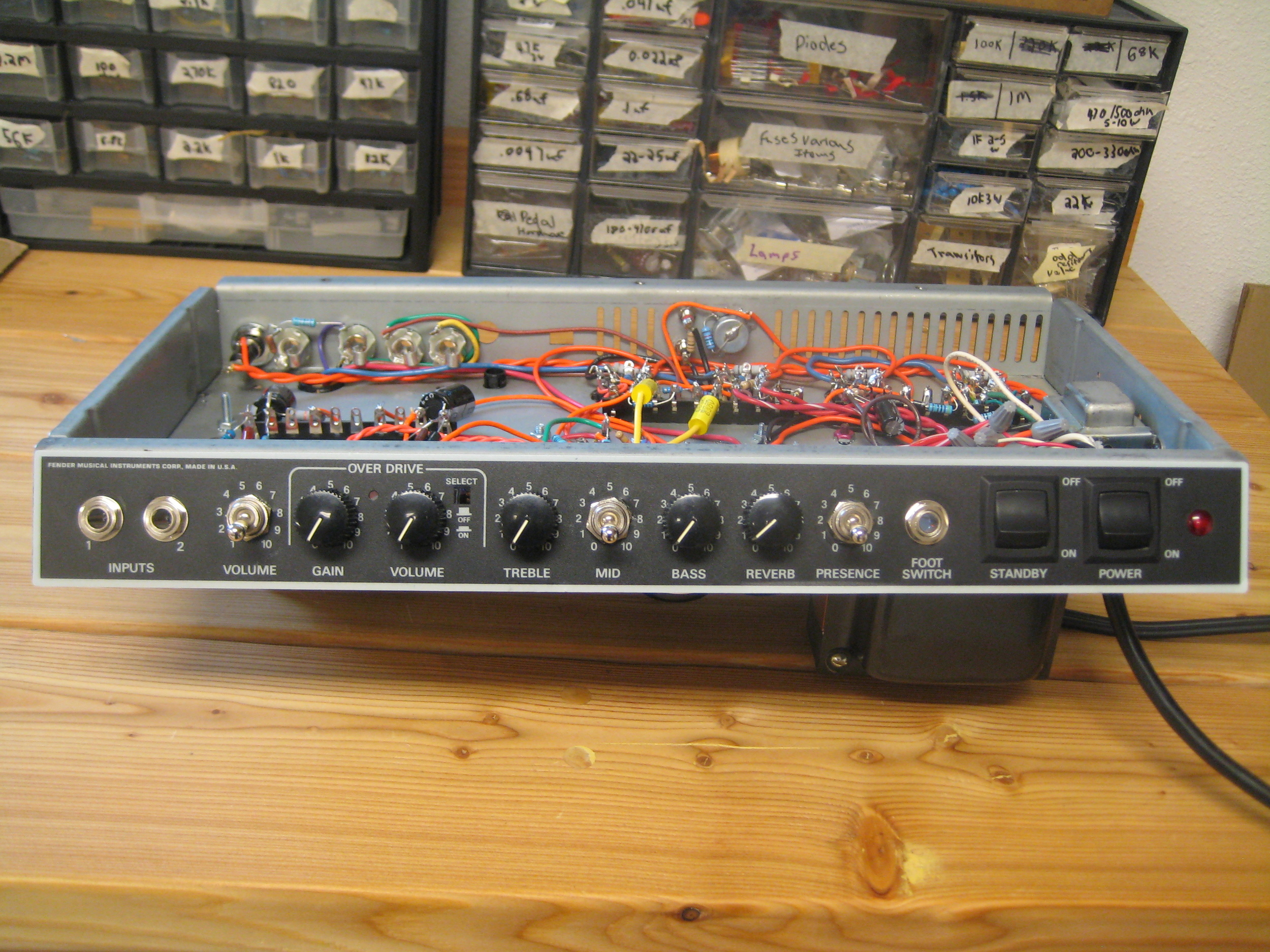 This Fender Super 60 (horrible sounding) was converted into a Jim Kelly Style amp. The Owner loves it!