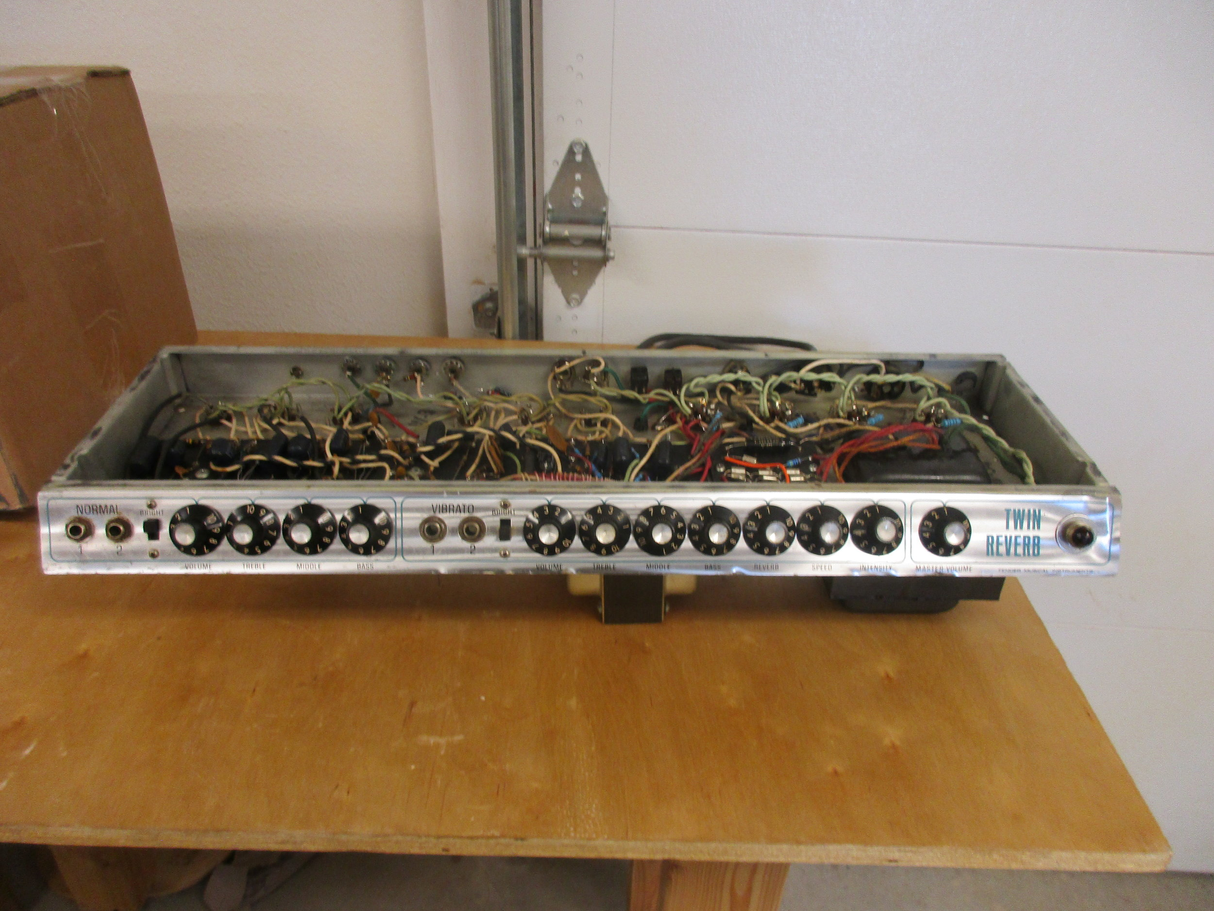 This Master Volume Silverface Twin Reverb came to me needing some help. I re-capped it, cleaned up tube sockets, and modded the circuit to Blackface Twin specs. I also made a few little changes of my own that I do to all Twins that people rave about. The owner was very pleased with his new amp!