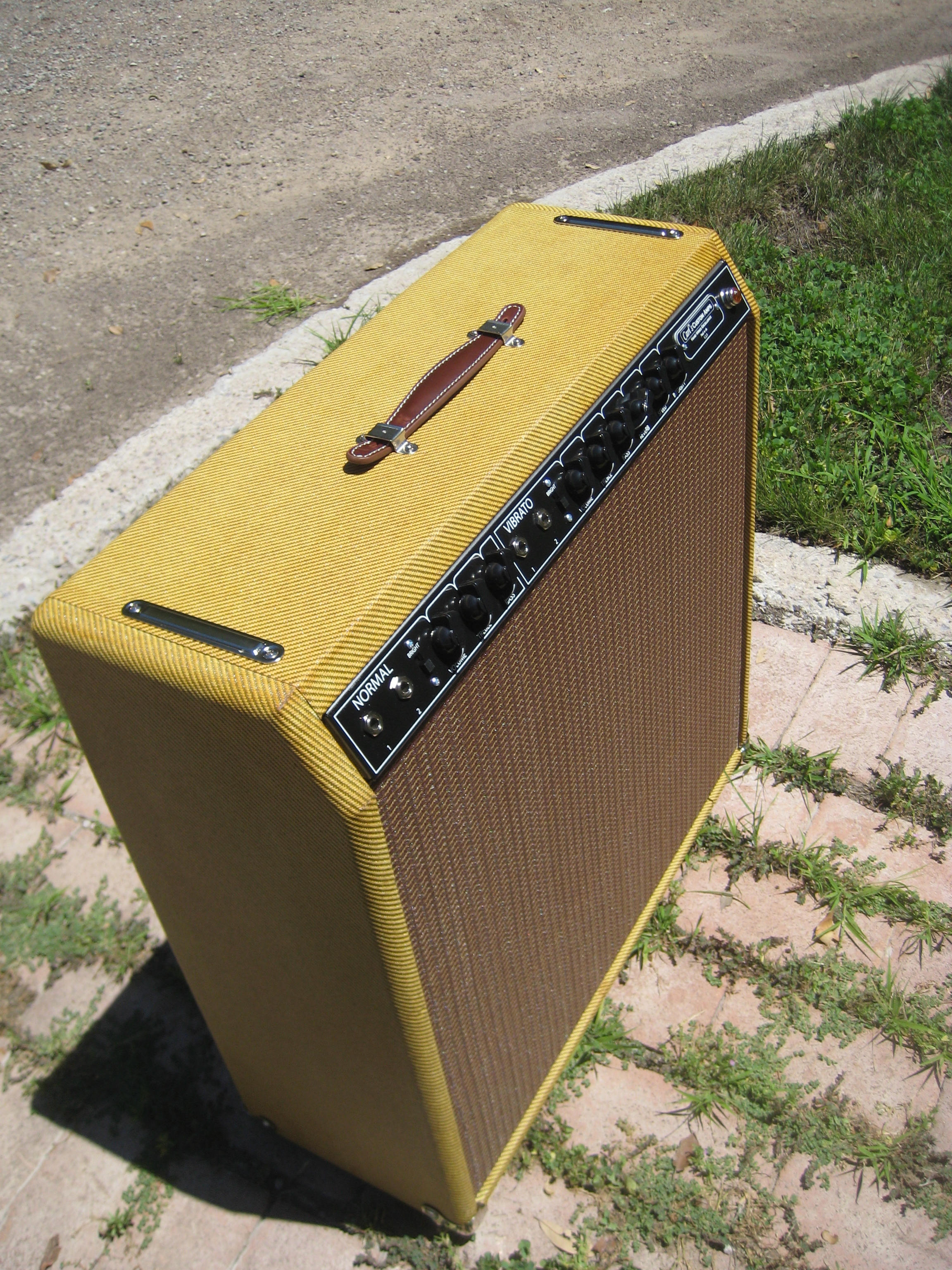 """I built this one a while back. It's Blackface Vibroverb in Tweed! I used a bias wiggle trem on it instead of the opto-trem. The trem works for both channels!! It's got a Weber Alnico 15"""" Speaker. Sweet Cleans and deep lows!"""