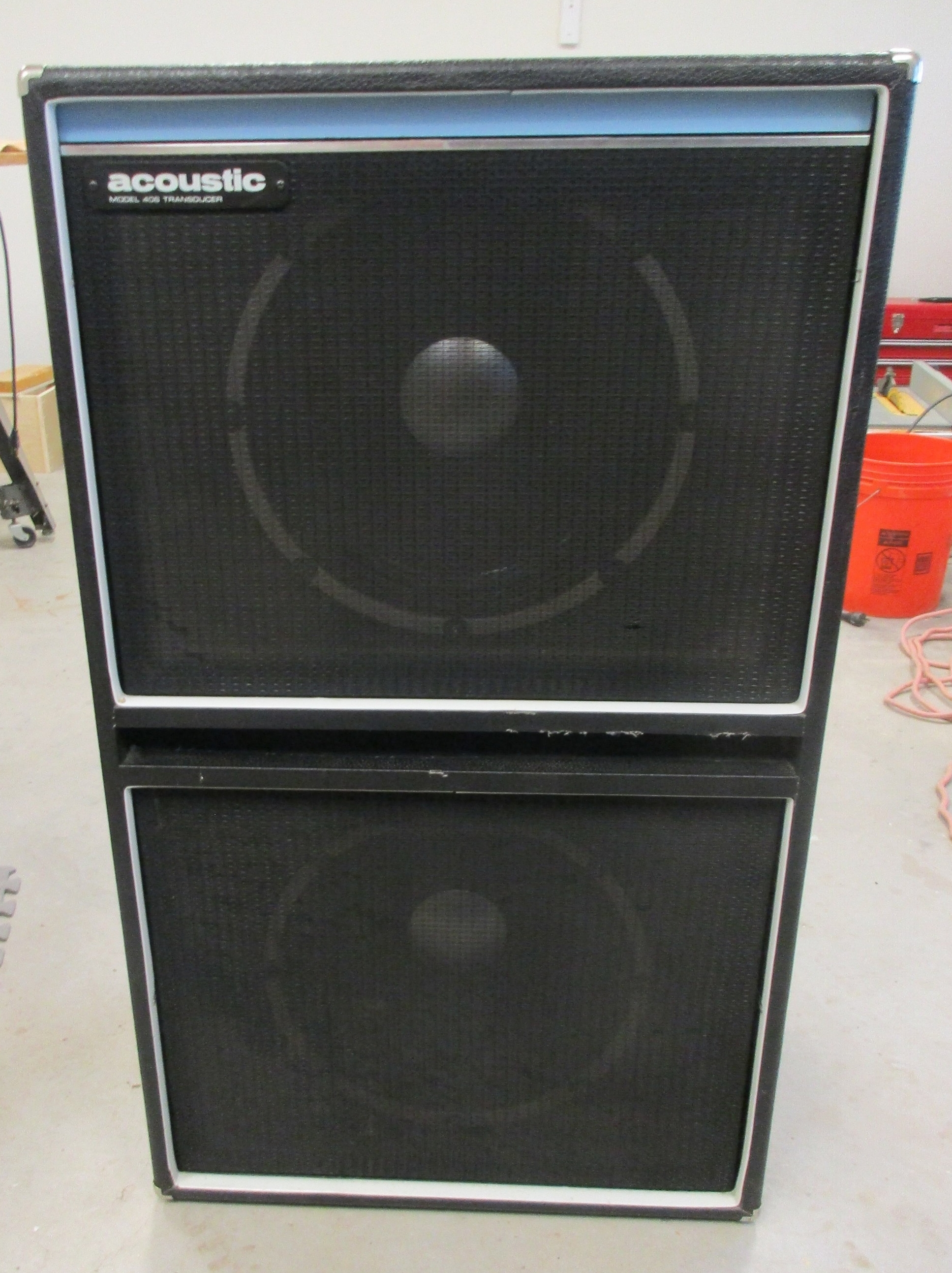 This cool 70's Acoustic 406 2x15 Bass Cab came in needing new speakers. The speaker were replaced with Weber Bass 15s and I added stuffing to the enclosure since they came without it and it a more of a necessity for bass cab. The result: Great vintage bass punch. Great sounding cab!