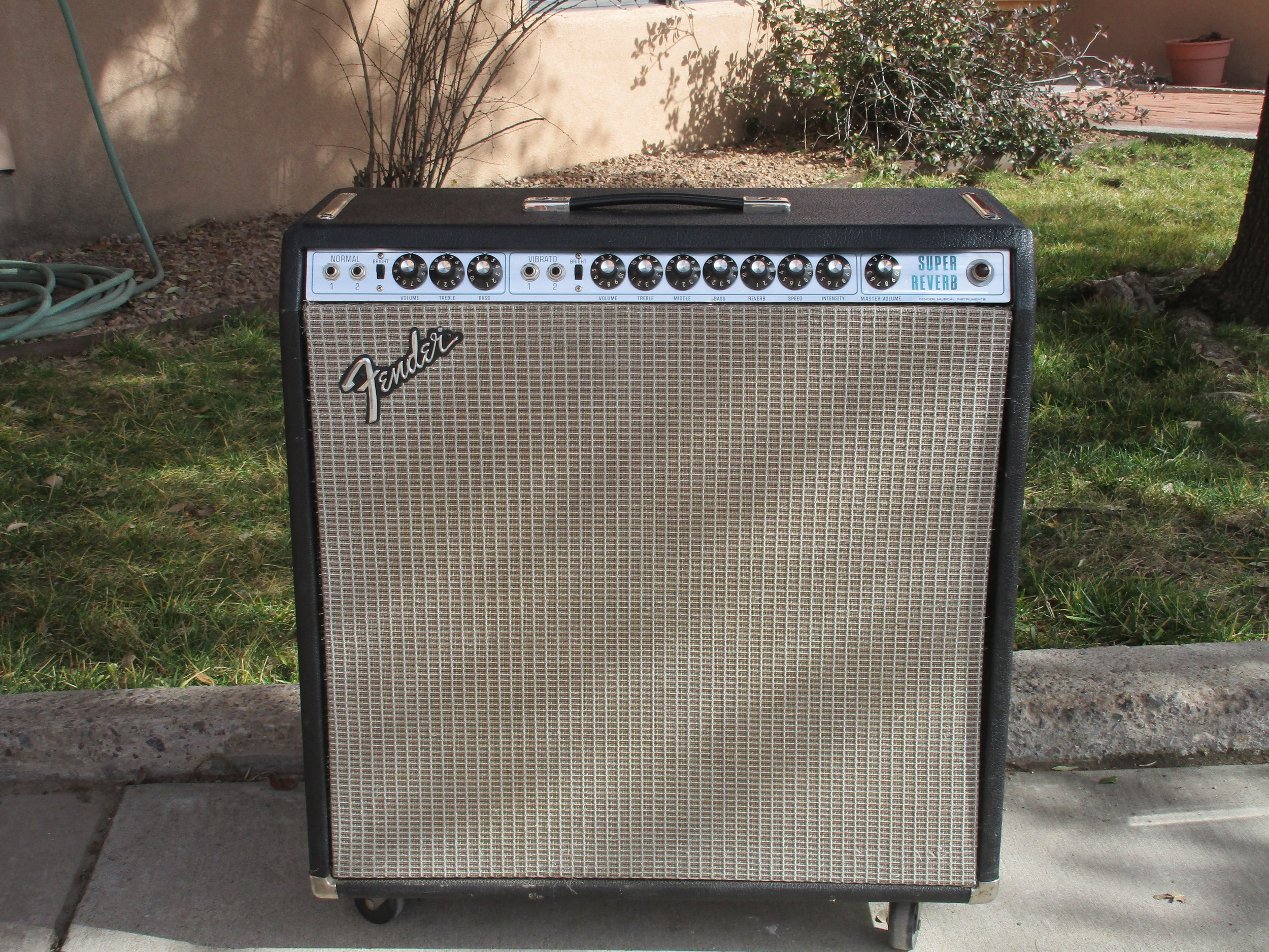 Silverface Super Reverb fully restored to working condition and modded to Blackface specs. Awesome sounding!
