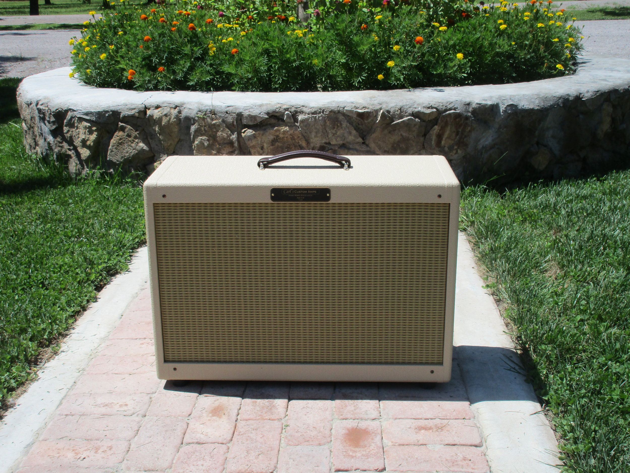 """2X12 Pine Extension Cab. It's loaded with Weber 12F150s for great 60's American tones. The new owner plays surf with vintage Blonde Fender Showman. He wrote:"""" 2 by 12 cab sounds fantastic. It's a wonderful match for my amp. Crystal clear tone. Perfect for surf tunes. Thanks Carl""""--John"""
