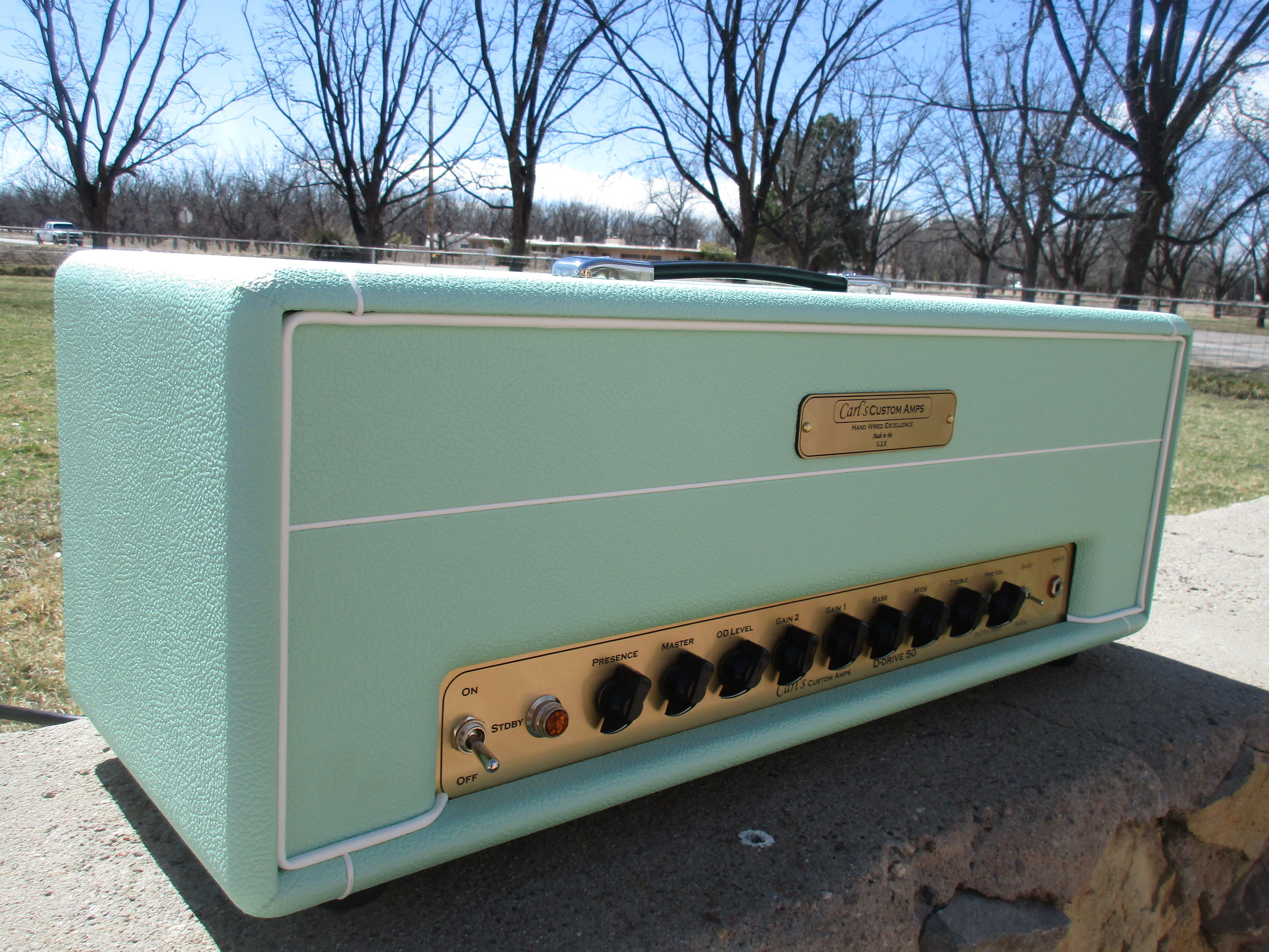 """This was an interesting one off amp: the D Drive. It's Dumble inspired but a single channel (the lead channel) with more flexibility since all those gain trim pots that only tech could adjust are now on the front of the amp. I've implemented a few tricks of my own: the floor noise less than Dumble and Ive made it more touch sensitive. It also has tube buffered FX loop for modulation effects.  The buyer wrote: """"Hi Carl!  You had made me the surf-green D-Drive a few months back, and after many hours of practice and three gigs, I have to be honest...IT'S A BEAST. Thank you!!! It reminds me a lot of an old amp that I had that I always regretted letting go of...and now it's back, but better than ever. Thanks so much for your time, Carl! And again, thanks for the D-Drive. It's PHENOMENAL. """" Mitchell P."""