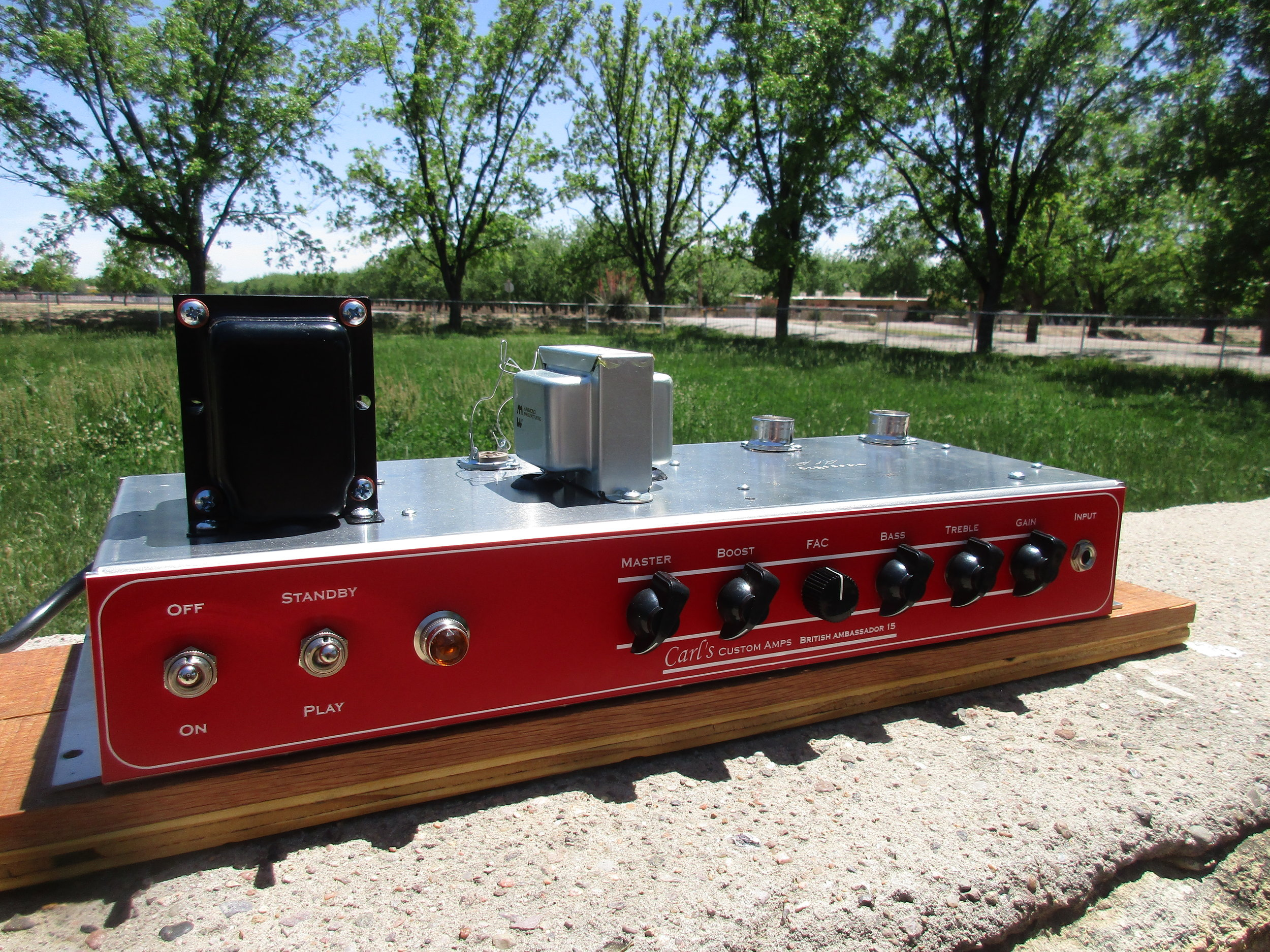 """This a great custom amp I built. It based on the 70's Orange OR series amp but with more modest 15W power section. It's got British punch and crunch!The buyer wrote:  """"  Hello Carl,    I am very impressed by Your inspired work! Colors of sound. I don't need a overdrive pedal! Much Thanks!""""  ROGER D.  CA, USA"""