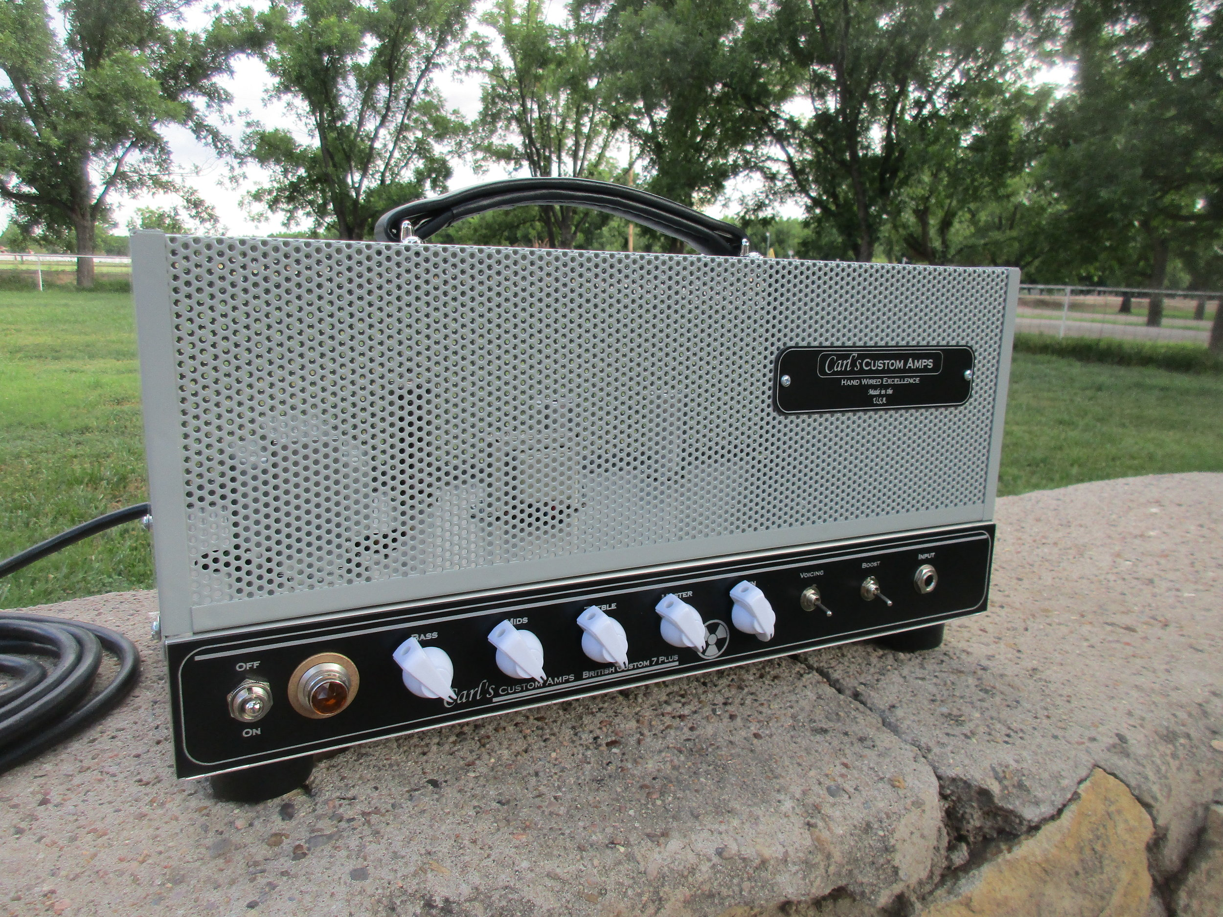 """Here's a modified British Custom 7. It's tricked out for more gain! The customer wrote:   """"Hi Carl. I got the amp and it sounds great! Thank you for building it for me."""" Eric B."""