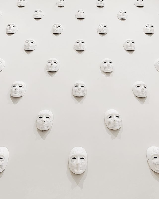 "A powerful piece by Suzanne Lacy --- ""Tattooed Skeleton"" with four hundred personal narratives of abuse from women across Spain that were handwritten onto white masks. #suzannelacy #white"