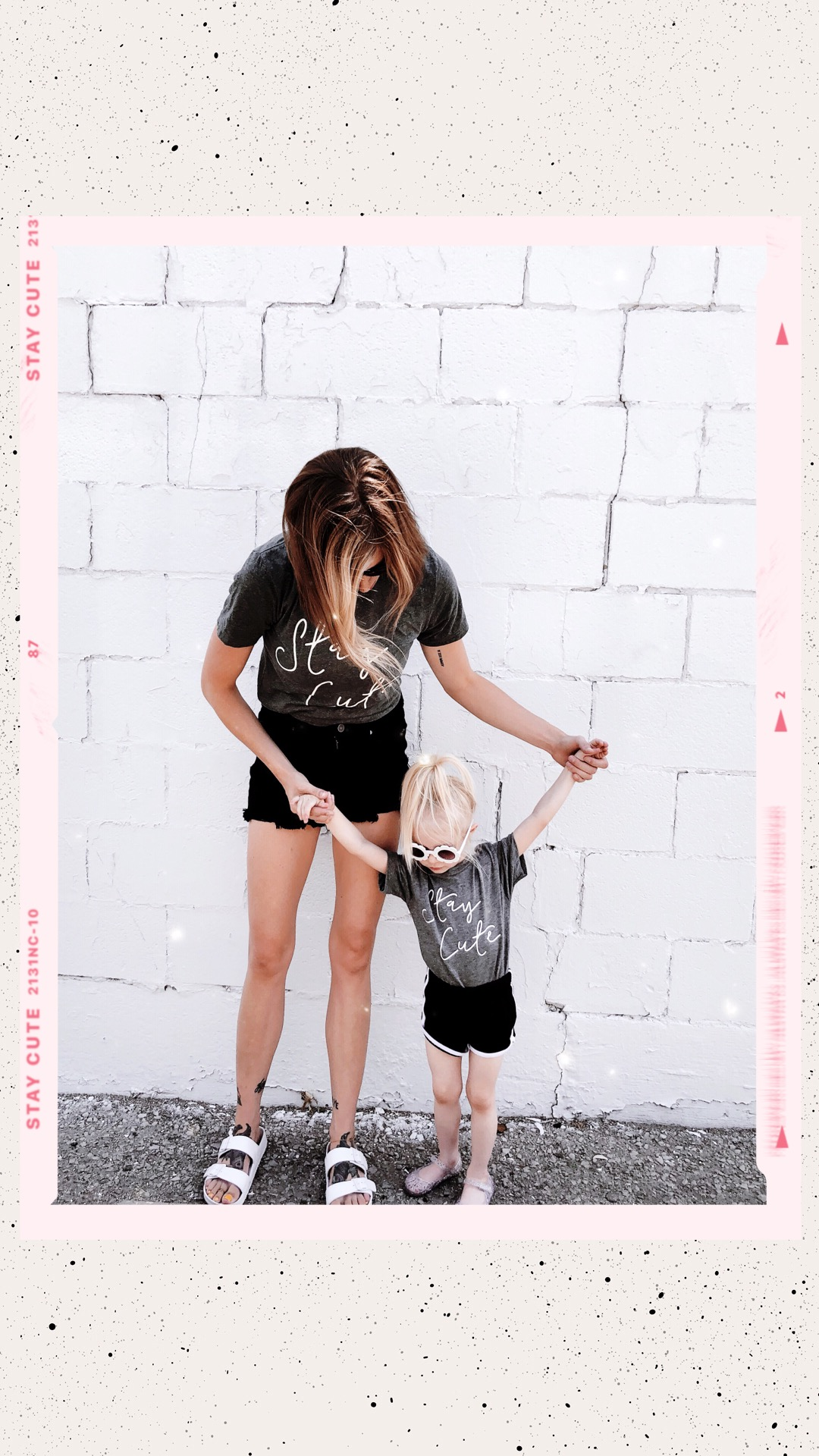 Stay Cute mama script tee grey