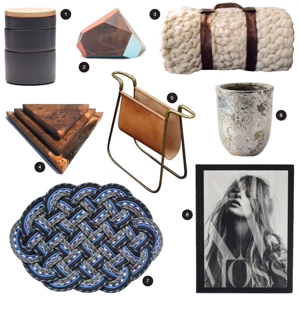 1/ Ekke Tapas Bowls + Lid,  Teroforma   2/ Wood Geo Sculpture,  Need Supply   3/ Bedroll,  Annie Williams   4/ Triangle Cutting Board,  General Store   5/ Carl Aubock Magazine Holder,  Houzz   6/ Metalic Crackle Herb Pot,  Anthropologie   7/ Rope Mat,  SerpentSea   8/ Kate Moss coffee table book,  Need Supply
