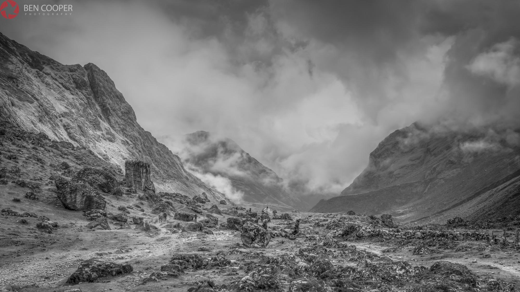 Salkantay Pass (black and white)
