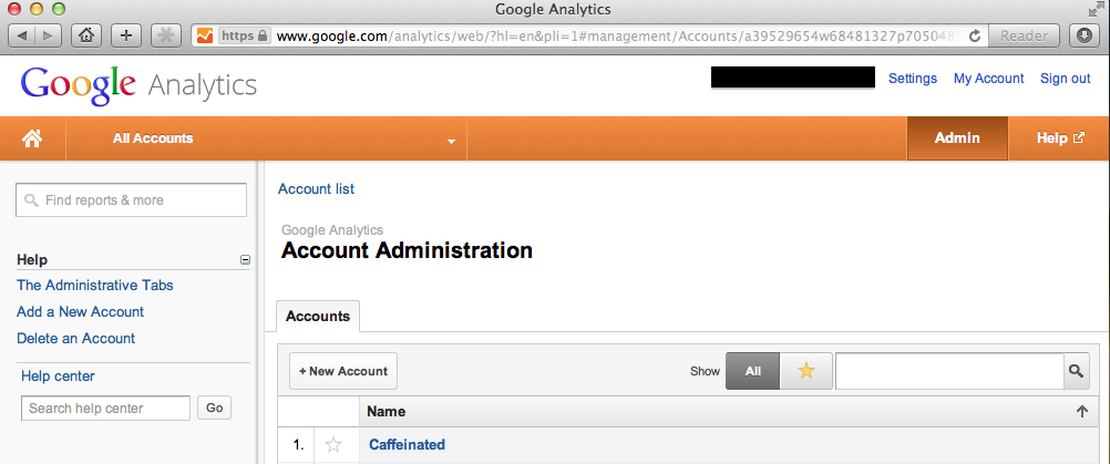 Create a New Account from the Admin Tab