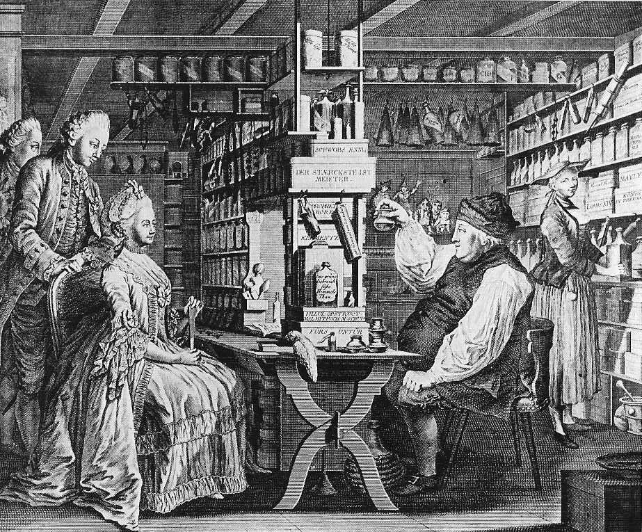 Darstellung: Apotheke, gezeichnet von G. Locher (1730 - 1795) (1774), graviert von Bartholomäus Hübner (1775) [Public domain], via  Wikimedia Commons