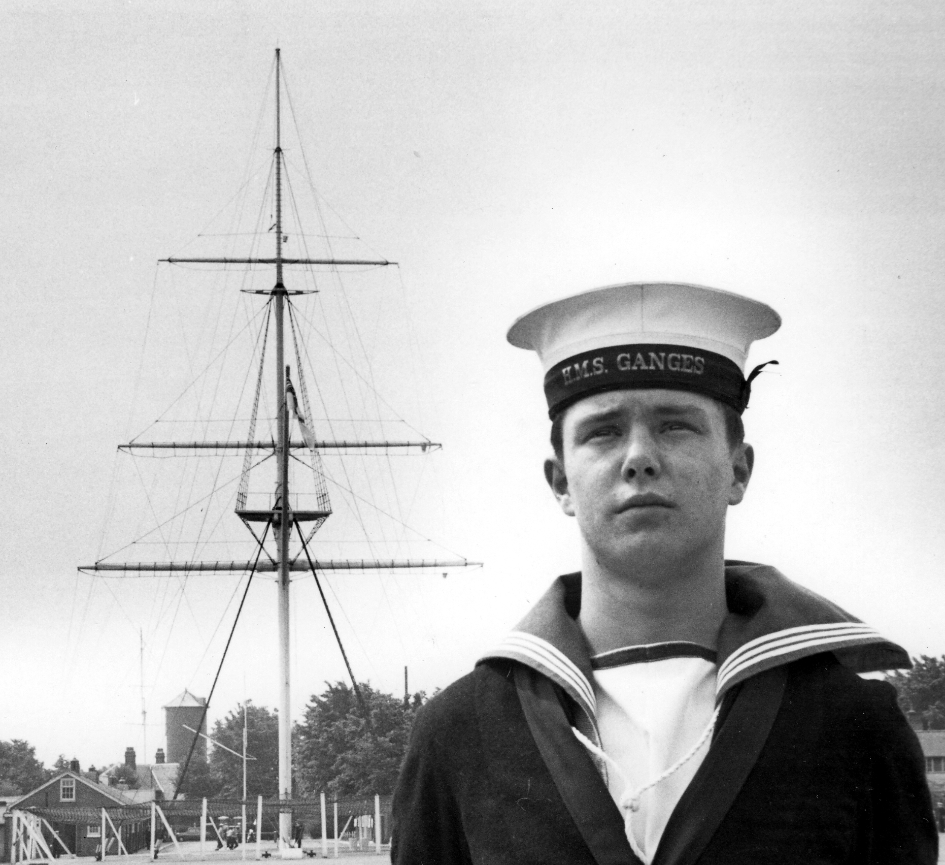 Gwyn Charlton at HMS Ganges with the mast in the background.