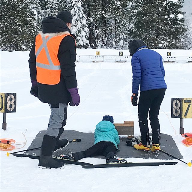 "The family that shoots together stays together. I ""competed"" in my first ski/shoot ""try a biathalon."" Niece Ayla, 12, was my coach. Then BB gun shooting from the living room in between bites of crepes at breakfast. Never a dull moment with @springcreeker. ""These targets provided by a generous grant from the NRA"""
