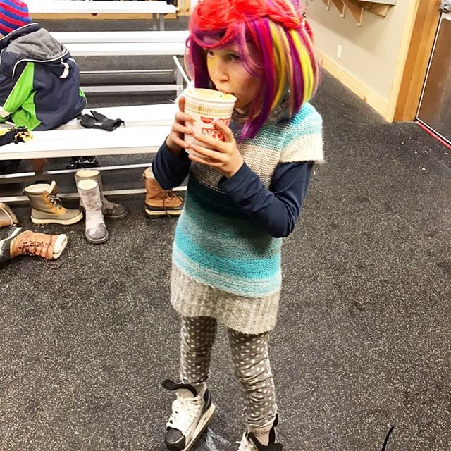 In a rainbow wig and your father's hockey skates from when he was a kid eating cup o' noodle at the local ice rink disco party. This is how you end a year. 🎉 Here we go '18. ♥️ @springcreeker (PS: #johnwaters)
