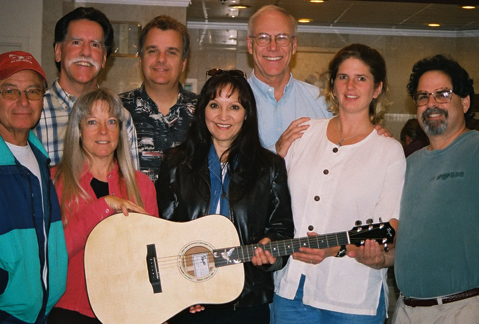 Jeannette with her brand new custom Rayco guitar.  With Jenny Lester, Janet Beazley & Lost Highway (2004)