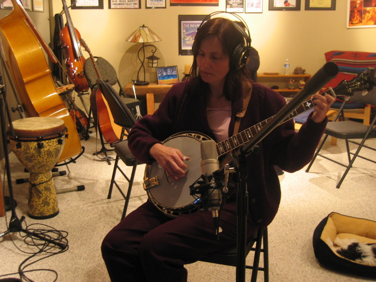 Sheila doing some recording November 22, 2008