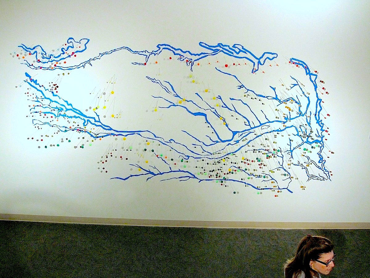 Watered Down  , Norfolk Art Center, NE Map of Nebraska waterways Painters tape, wire, pom poms