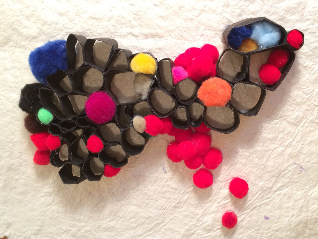 Private Collection, Warsaw, Poland Tar paper, handmade paper & pom poms 2014