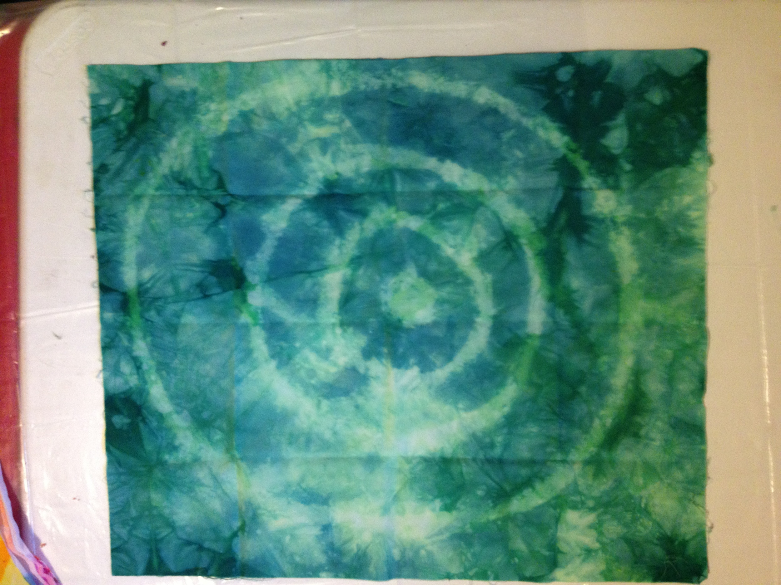 "Blue-green Target (glue stick resist) ""Before"""