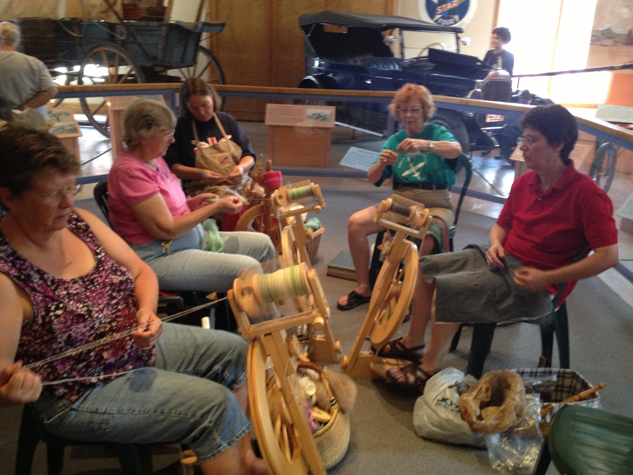 The spinning guild members demonstrating their skills