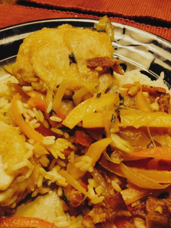 Chicken Thighs with Peppers and Onions
