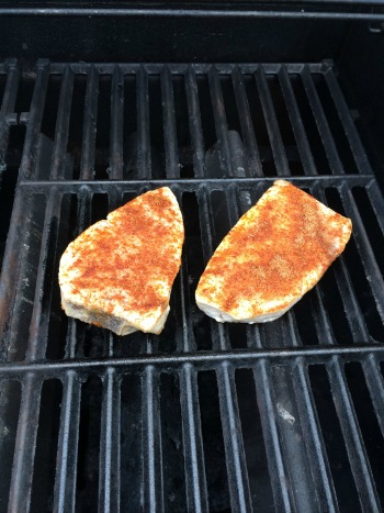 Swordfish on the grill, just starting out.