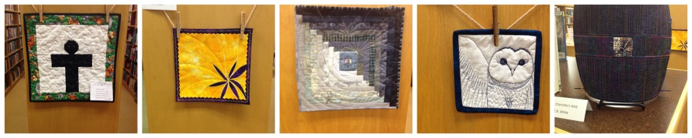 BBW quilts on display at my local public library. Unfortunately I didn't write down what each represented--sorry!