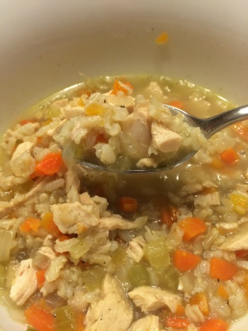 Chicken and brown rice soup--perfect for a sniffly Sandy