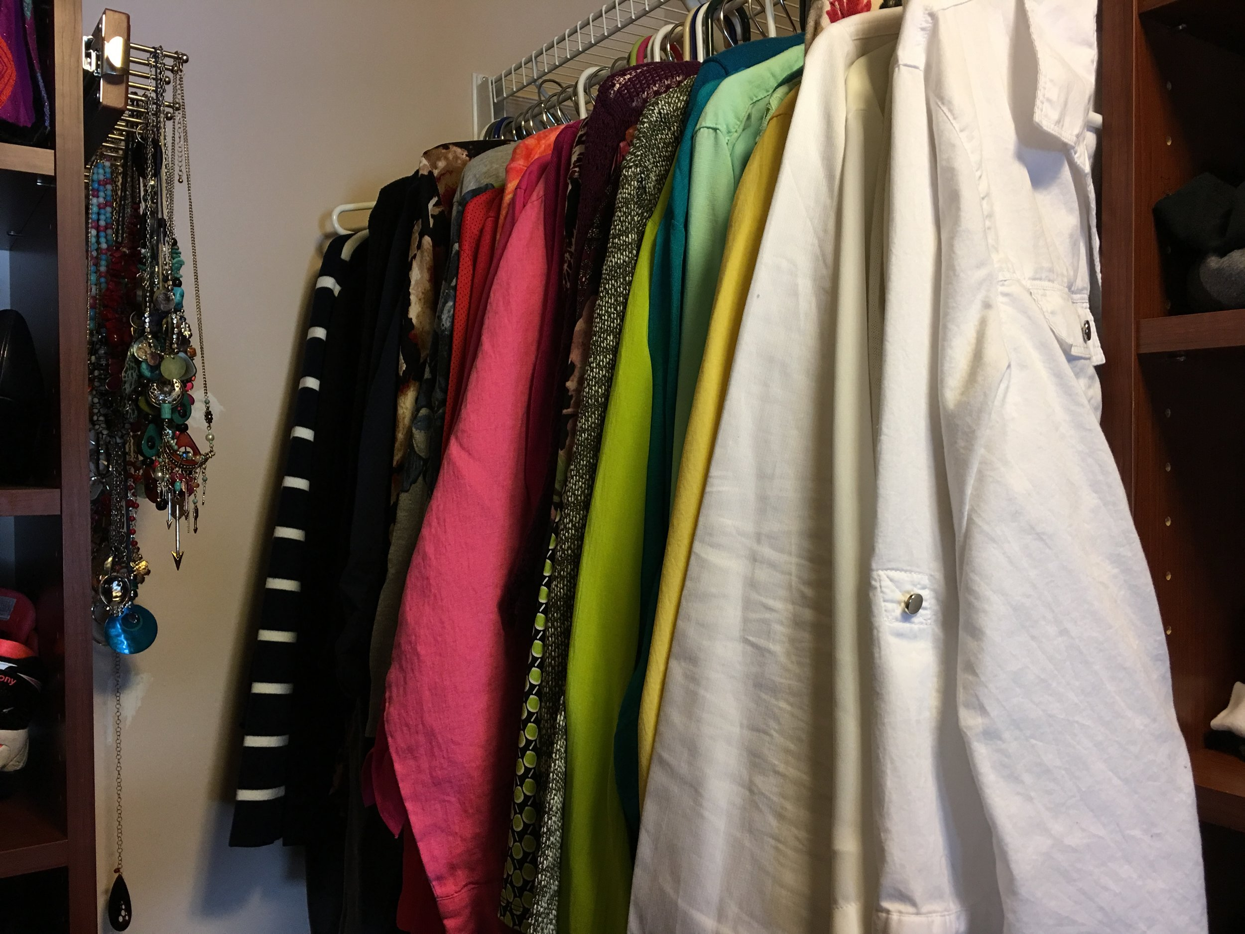 Lots o' color. White, yellow, mint green/turquoise (and one remaining dark green that I'm not putting away until the snow melts), purple, fuschia, coral, navy, gray, black...