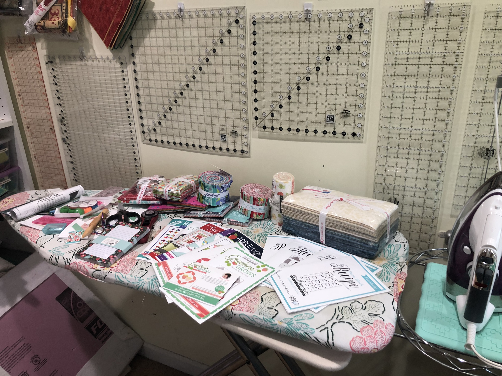 And five months' worth of Sew Sampler boxes, plus a fabric collection from Fat Quarter shop in prep for one niece's wedding quilt