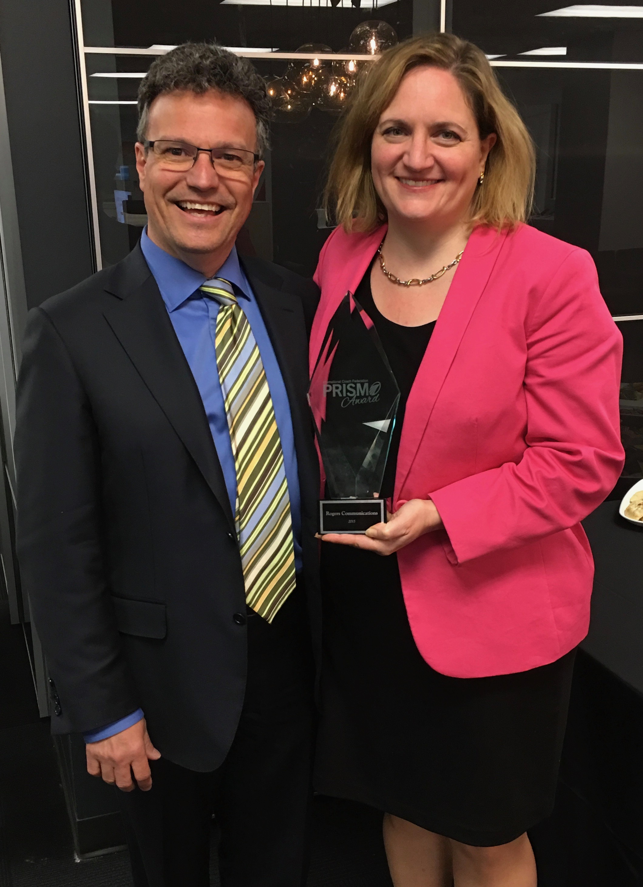 Photo with Prism winner Silvia Lulka, Director at  Rogers Communications  where Dominic was engaged by  Essential Impact  to support the delivery of their Global Prism Award winning Excelerator coaching program. 600 directors and over 2500 managers have been trained to be effective coaches and dozens have become credentialed coaches through the International Coach Federation.