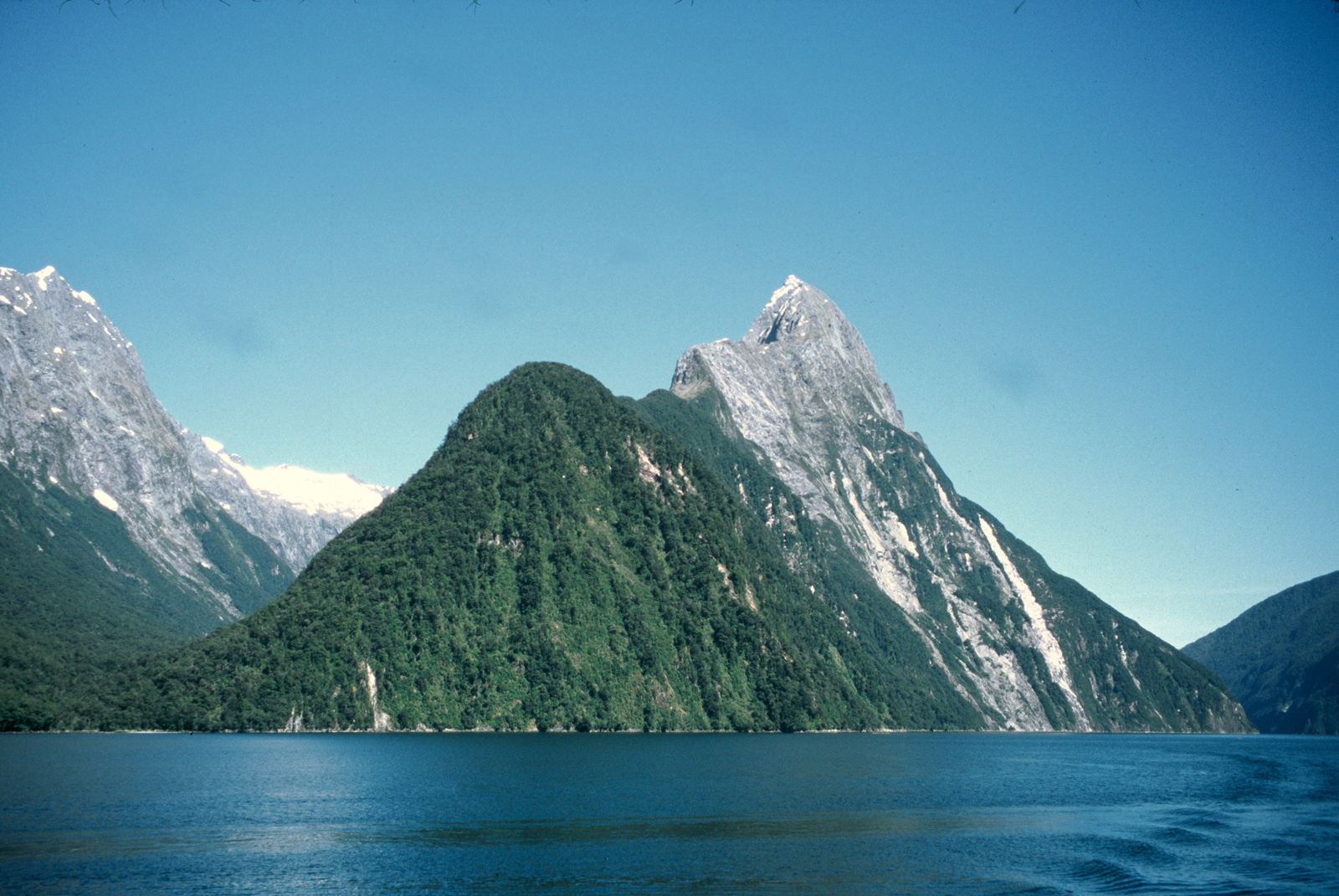 Mitre Peak rises out of Milford Sound near the end of the Milford Track.